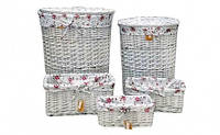 Корзина плетеная овальная с крышкой для хранения белья, игрушек, рукоделия, косметики белая