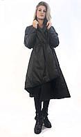 Женская куртка демисезонная Boruoss на запах. Черный цвет. Размер XXL