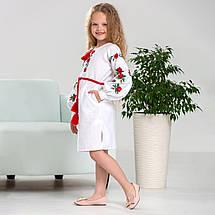 Біла сукня  вишиванка для дівчинки Трояндочка, фото 2