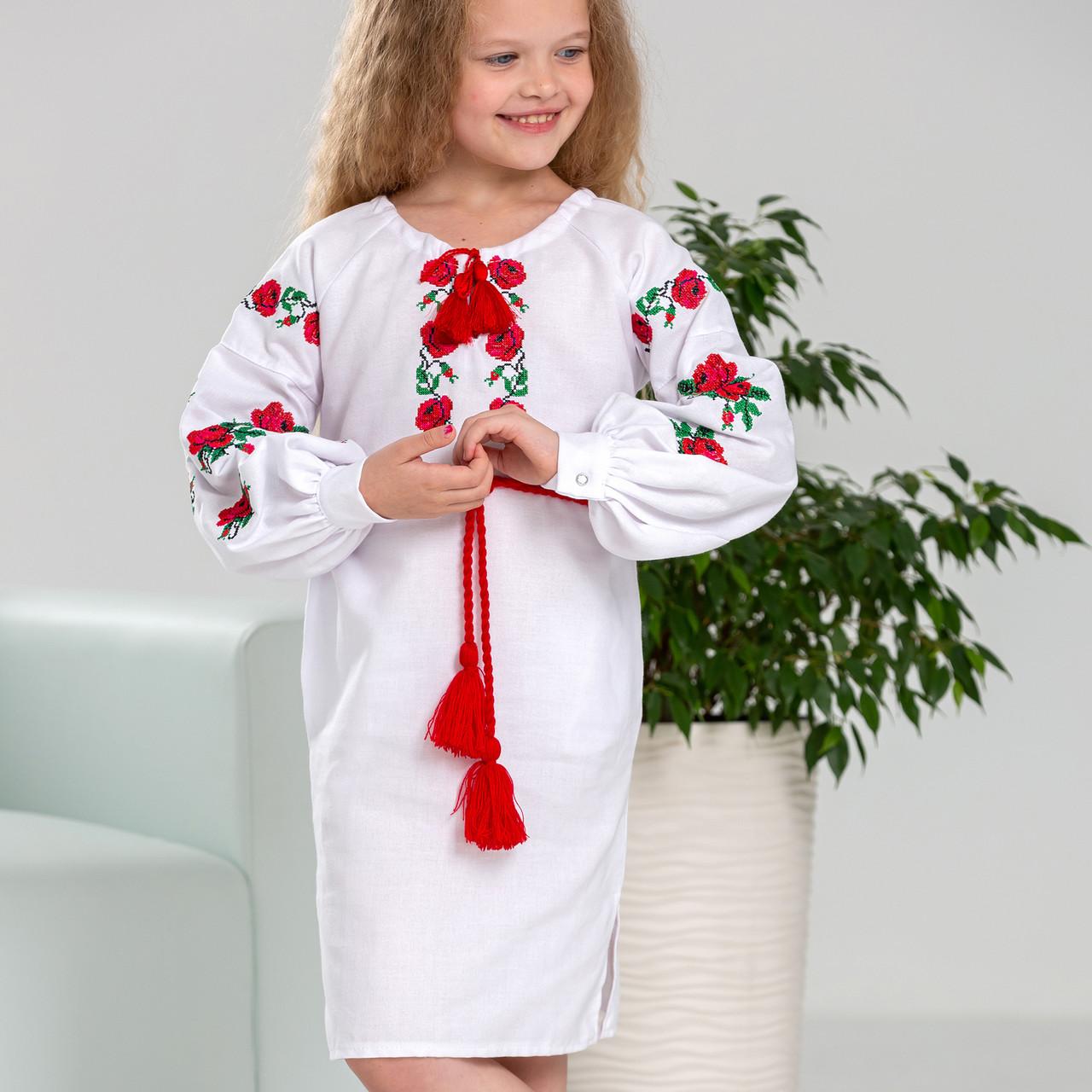 Біла сукня  вишиванка для дівчинки Трояндочка