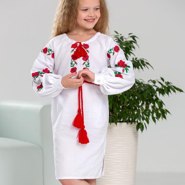 Белое платье вышиванка для девочки Розочка