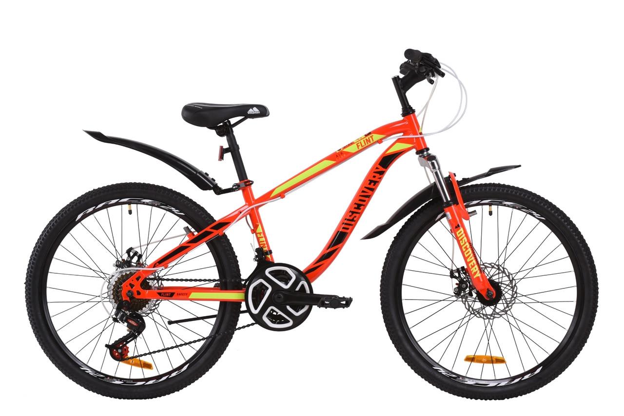 """Велосипед подростковый горный 24"""" Discovery Flint AM DD 2020 красно-черный с салатовым дисковые тормоза"""