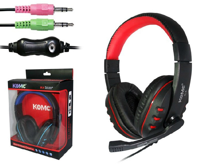 Игровые наушники с микрофоном 3,5 мм. геймерские для компьютера игр ПК KOMK K4 красные