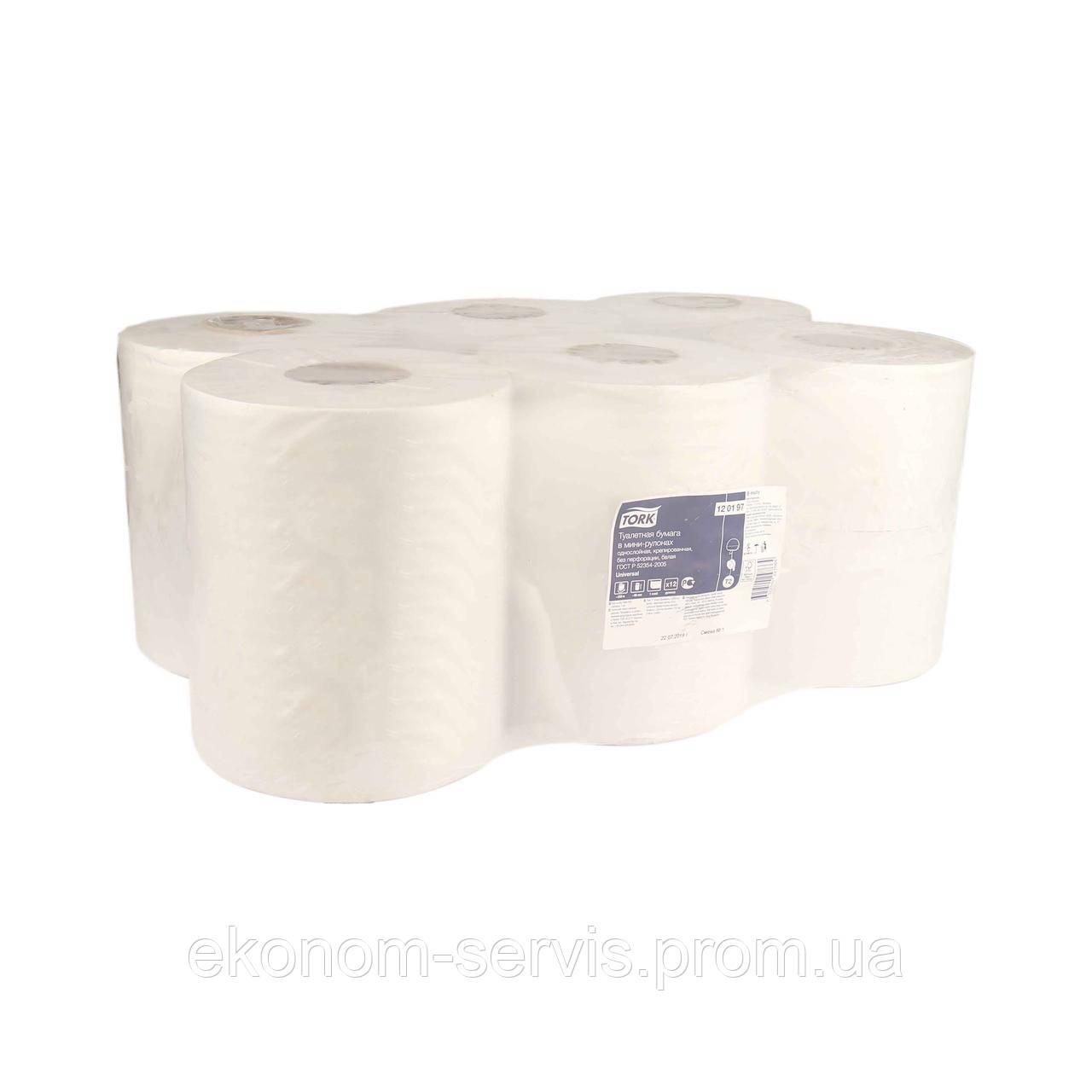 Туалетная бумага Tork Universal в мини рулонах, 1-сл, 10см, 200м, 12шт