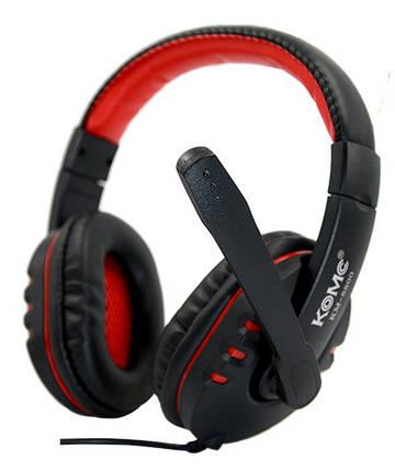 Игровые наушники с микрофоном 3,5 мм. геймерские для компьютера игр ПК KOMK K4 красные, фото 2