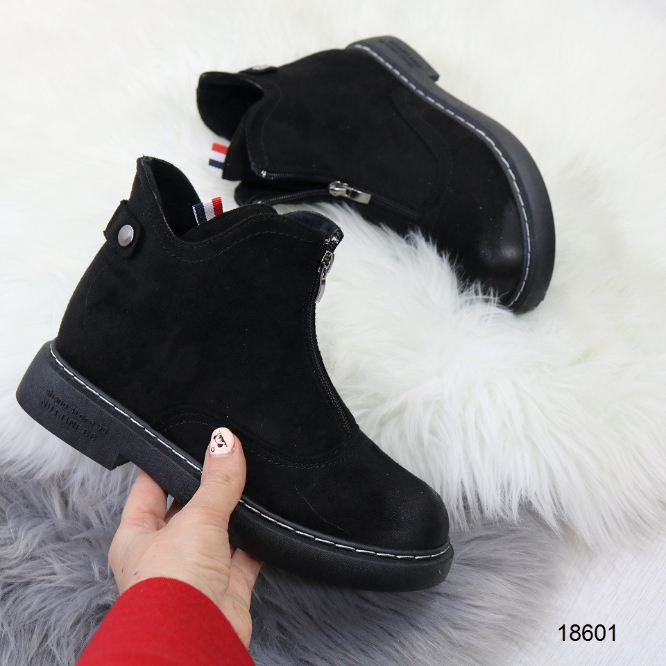 Демисезонные женские ботинки черного цвета, из эко замши 37 38 ПОСЛЕДНИЕ РАЗМЕРЫ