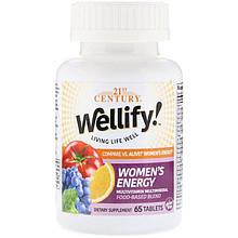 """Вітаміни і мінерали для жінок, 21st Century """"Wellify women's Energy"""" (65 таблеток)"""