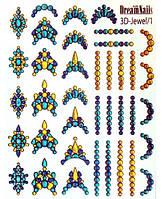 Слайдер-пленка № 01 с объемным изображением имитирующий кристаллы и стразы для дизайна маникюра 3D-j