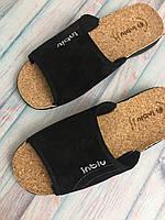 Мужские домашние тапочки Inblu,натуральная пробка по стельке(верх текстиль и литая подошва)