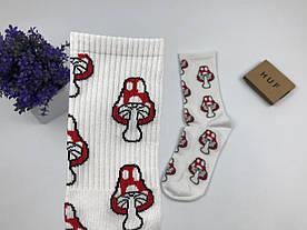 Носки HUF Грибы Мухоморы - высокие - (белые)