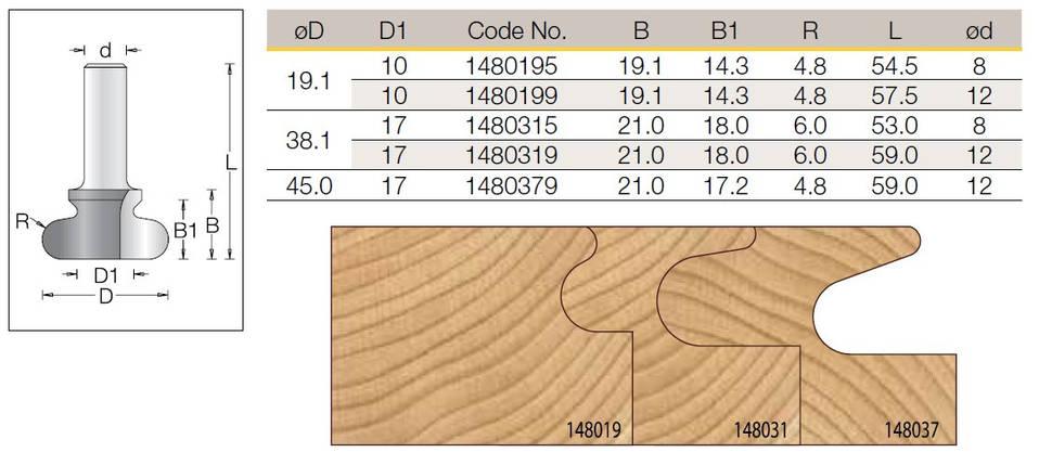 Фреза DIMAR для фрезерования скрытой ручки D=38.1 D1=17 R=6 B=21 d=12, фото 2
