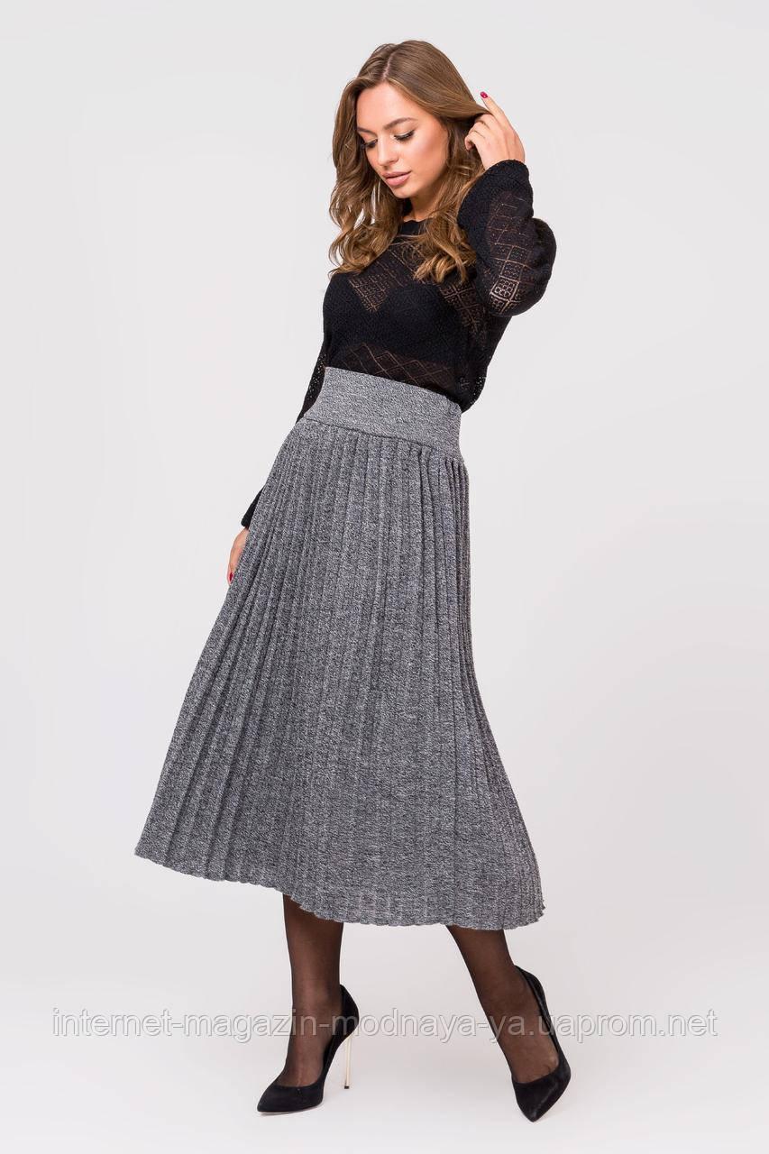 Вязаная юбка-плиссе Миди серый меланж р. 44-48