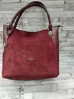 Замшевая бордовая сумка Zara (Зара)