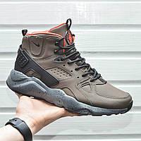 Мужские кроссовки с термоноском Nike Air Huarache High Khaki Orange хаки