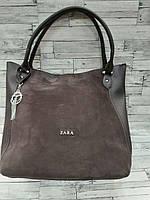 Замшевая кофейная сумка Zara (Зара)