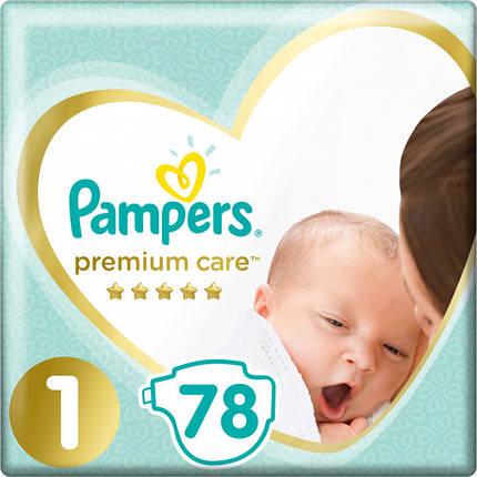 Подгузники Pampers Premium Care New Born Размер 1 (Для новорожденных) 2-5 кг, 78 шт, фото 2