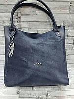 Замшевая синяя сумка Zara (Зара)