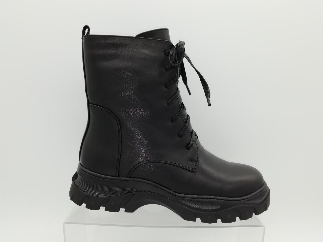 Черные кожаные зимние ботинки.Полусапоги.Erisses. Маленькие размеры ( 33 - 35).