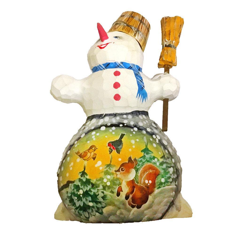 Фигурка Снеговик резная из дерева