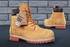 Мужские зимние ботинки из натурального нубука и натуральным мехом в стиле Timberland Boots Brown коричневые, фото 3