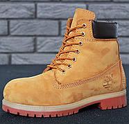 Мужские зимние ботинки из натурального нубука и натуральным мехом в стиле Timberland Boots Brown коричневые