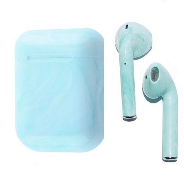 Беспроводные наушники HBQ i12 TWS сенсорные Bluetooth зеленый мрамор