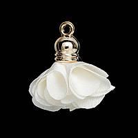 Подвеска кисточка, Цветок, Полиэстер, Позолоченный, Цвет: Белый, 27 мм x 25 мм, фото 1