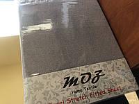 Махровая простынь с резинкой 220х240 см и две наволочки 50х70 см цвет серый