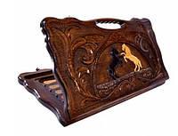 Нарды деревянные, резные Лошади ручной работы