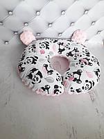 Дорожная подушка + маска для сна 100 % холлофайбер, польский хлопок КАЧЕСТВО ТОП!БЕСПЛАТНАЯ ДОСТАВКА УКРПОЧТОЙ Панда с шариком