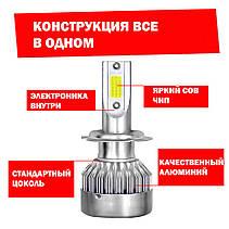 Лампа светодиодная для фар С6 H1 3800 Lum цвет свечения 6000К 2 шт/комплект, фото 2