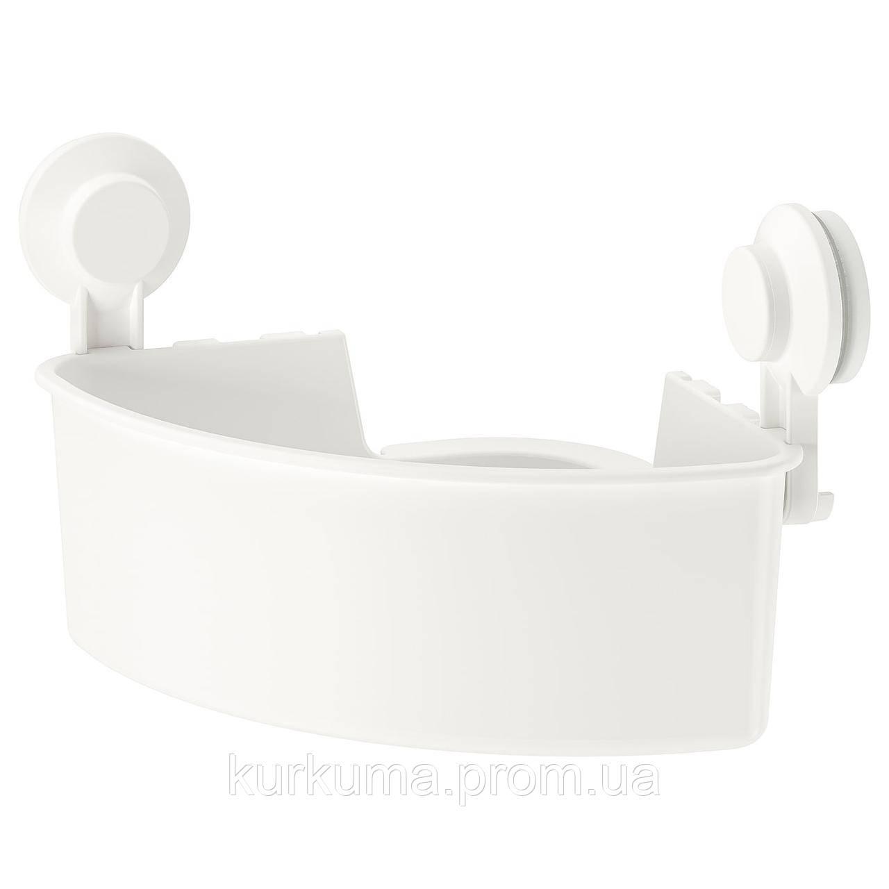IKEA TISKEN Угловая полка на присосках, белая (204.003.04)