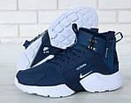 Чоловічі зимові кросівки Nike Air Huarache Winter з хутром (синьо-білі), фото 6