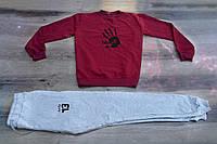 Мужской спортивный костюм весна-лето, чоловічий костюм бордо+серый Bloody, Реплика