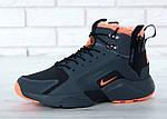 Мужские зимние кроссовки Nike Air Huarache Winter с мехом (черно-оранжевые), фото 3