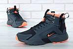 Мужские зимние кроссовки Nike Air Huarache Winter с мехом (черно-оранжевые), фото 4