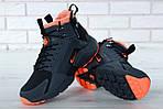 Мужские зимние кроссовки Nike Air Huarache Winter с мехом (черно-оранжевые), фото 5
