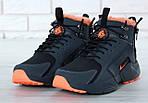 Мужские зимние кроссовки Nike Air Huarache Winter с мехом (черно-оранжевые), фото 6