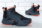 Мужские зимние кроссовки Nike Air Huarache Winter с мехом (черно-оранжевые), фото 7