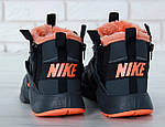 Мужские зимние кроссовки Nike Air Huarache Winter с мехом (черно-оранжевые), фото 8