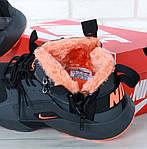 Мужские зимние кроссовки Nike Air Huarache Winter с мехом (черно-оранжевые), фото 9