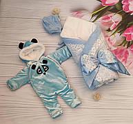 Зимний комплект на выписку для новорожденного (конверт, шапочка, комбинезон): конверт-одеяло