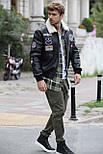 😜 Куртка - мужская зимняя куртка-кожанка на меху с нашивками (натуральная кожа), фото 2