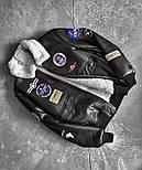 😜 Куртка - мужская зимняя куртка-кожанка на меху с нашивками (натуральная кожа), фото 3