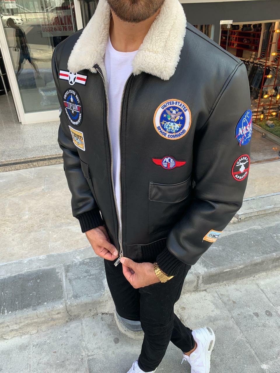 😜 Куртка - мужская зимняя куртка-кожанка на меху с нашивками (натуральная кожа)