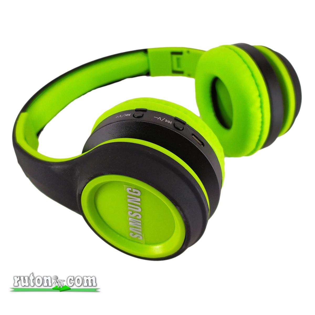 Беспроводные Bluetooth наушники Sams MS 991 A зеленые складные с FM-радио и MP3 плеером контроль плеера блютуз