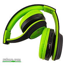 Беспроводные Bluetooth наушники Sams MS 991 A зеленые складные с FM-радио и MP3 плеером контроль плеера блютуз, фото 3