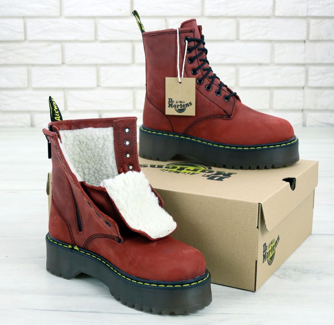 Женские ботинки Dr.Martens Rad JADON кожа, ЗИМА красные. ТОП Реплика ААА класса.