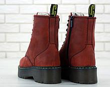 Женские ботинки Dr.Martens Rad JADON кожа, ЗИМА красные. ТОП Реплика ААА класса., фото 3