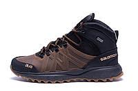 Мужские зимние кожаные ботинки Salomon SLAB Olive (реплика)